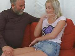 Young playgirl takes old nasty pecker in her mouth