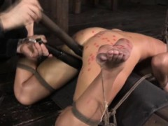 Spreadeagle sub gets dildo treatment
