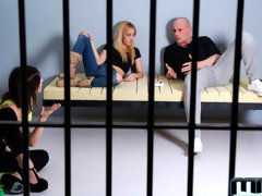 Cute babes Valentina Bianco and Chiki Dulce fucked in the jail
