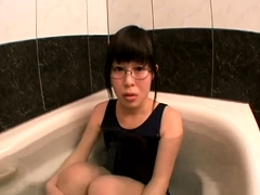 Nerdy Oriental babe welcomes a thick cock in her wet pussy