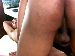Chubby TS joy girl fucks dude in cowgirl reverse bareback