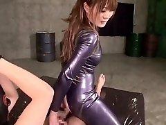 Buxom Oriental cutie finds herself in a hardcore threesome