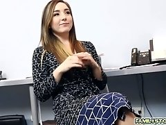Beautiful Bambi Brooks whip out stepdads big cock to suck