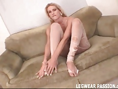 Blonde amateur slut Jenni teasing in ripped pantyhose