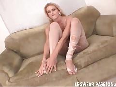 Blonde amateur slut Jenni teasing in ripped pantyhose