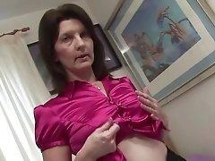 Skinny 90s British milf undresses and pleasures exciting pussy masturbation