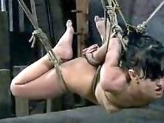 Tied up slave girl drilled with sex toys BDSM porn
