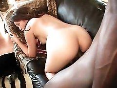 Foot long black cock slowly fucks Asian from behind