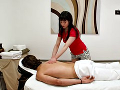 skinny cutie massages a lucky guy and sucks him off