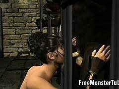 Sexy 3D cartoon babe sucking a werewolfs cock