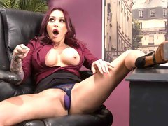 Amazing athletic MILF with tattoos Monique Alexander fucks in the office