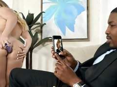 Amazing white babe AJ Applegate opens her crack for a big black cock