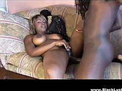 lustful ebony babe with big tits fucked hard by big black cock