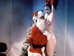 Vintage Santa Kisses Juicy Boobs Of Naughty Teen Girl