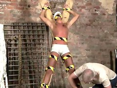 Twink dick hunk tubes He's roped up to the cross in just his