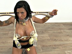 BDSM mature l loves being plugged on a milking device
