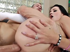 dallas black takes full mouthful of cum after tough anal pounding
