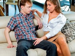 Stunning MILF with huge tits Britney Amber bangs with a young man