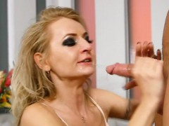 Breasty darling tames a horny giant redwood with her throat