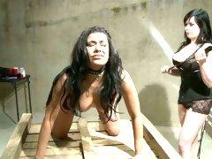 Adorable brunettes Mistress Irony and Giselle Humes enjoy femdom