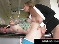 Big-Boobed Platinum-Blonde Cougar Julia Ann Pegs Her BoyToy As Payback!