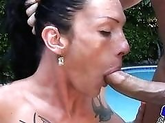 Cute young shemales sucking on cocks by the pool passionately