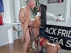 Threesome in the lingerie shop with slutty sales girls