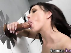 Dark-Haired at gloryhole gives big black cock bj