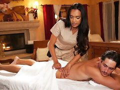 After giving a massage, the tranny gal will gently ram the ass of her client