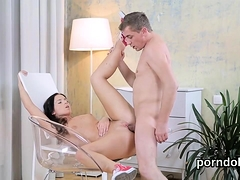 Cute college girl was seduced and nailed by her elderly teac