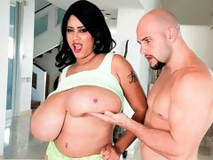 Hot brunette teen Roxi Red feels a fat cock in her crack