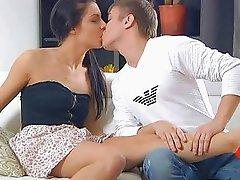Lustful man kisses girls tits