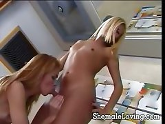 2 sexy shemales sharing a guys cock